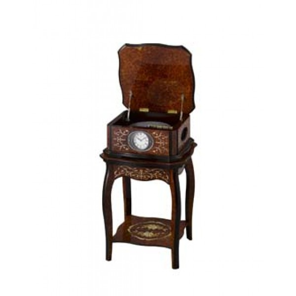 """Rhythm (Japan) - 33 """"Inch Height High Grade Disc orgel and cylinder orgel Table Clock - 85x56x56Cm (Silent Movement, Silent Silky Brown Wooden Case)."""