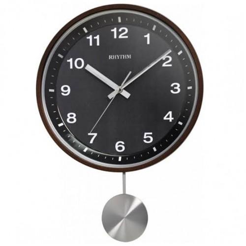 "Rhythm (Japan) - 12 ""Inch Wooden Wall Clocks Chime Wooden Wall Clock- 31.5x44.8x7Cm (Silent Movement, Silent Silky Black Wooden Case)"
