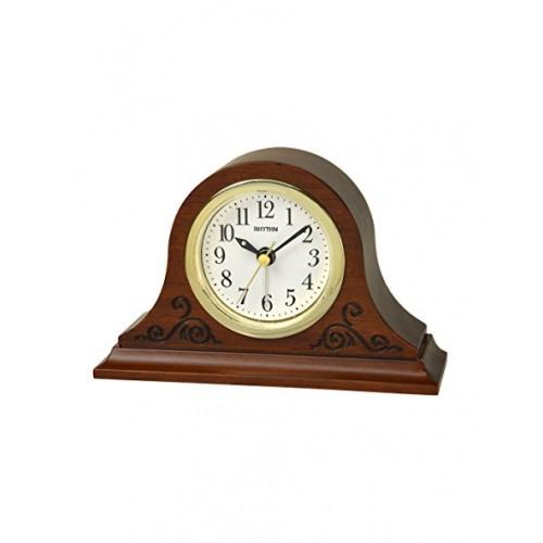 Rhythm Wooden Table Clock Beep Alarm Analog